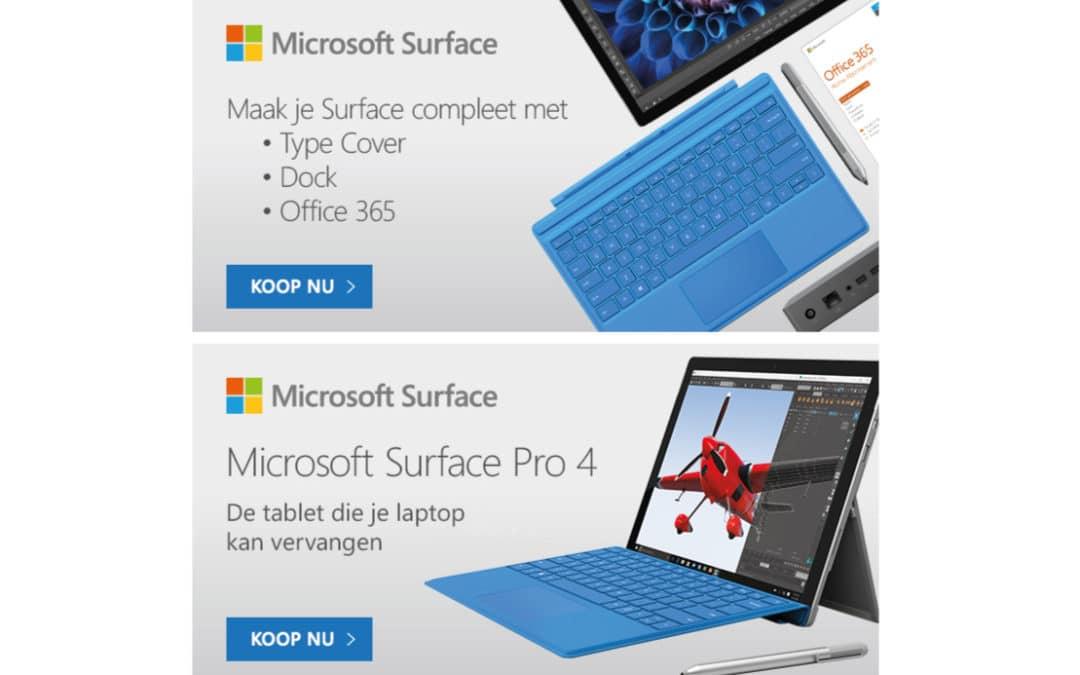 Microsoft Surface – digitale banners